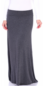 Comfortable Fold-Over Maxi Skirt - Made in USA - Charcoal