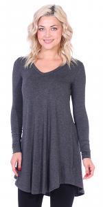 Women's Tunic Tops For Leggings - Long Sleeve Vneck Shirt - Regular and Plus Size - Made in USA - Charcoal