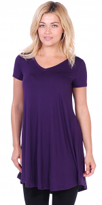 Women's Tunic Top Dress Short Sleeve - Wear With Leggings in Regular and Plus Size - Made In USA - Eggplant
