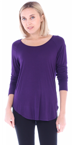 Womens Scoop Neck Tunic Tops Long Sleeve Wear with Leggings - Made In USA - Eggplant