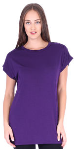 Womens Cap Sleeve Round Neck Tunic Top Wear with Leggings - Made in USA - Eggplant