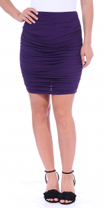 Womens Ruched Bodycon Pencil Skirt High Waist Above Knee - Made in USA - Eggplant