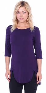 Women's Tunic Tops to Wear with Leggings 3/4 Sleeve - Made In USA - Eggplant