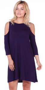 Womens Cold Shoulder Shift Flowy Dress Round Neck 3/4 Sleeve - Made In USA - Eggplant