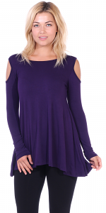 Open Cut Out Cold Shoulder Tunic Top for Women - Long Sleeve Top for Leggings - Made In USA - Eggplant