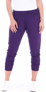 Women's Harem Pants Cropped Jogger Style Ankle Length Sweatpants - Made In USA - Eggplant