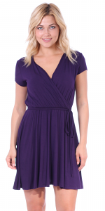 Women's Swing Cap Sleeve Midi Above the Knee Length Summer Dress - Made In USA - Eggplant