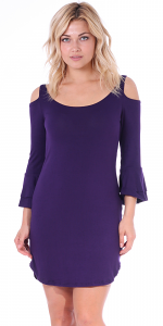 Women's Cold Shoulder Tunic Dress - 3/4 Ruffle Bell Sleeve Style - Made In USA - Eggplant
