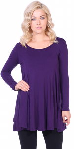 Womens Long Sleeve Tunic Top Loose Fit - Wear With Leggings - Made In USA - Eggplant