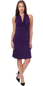 Cowel Neck Dress - Made in USA - Eggplant