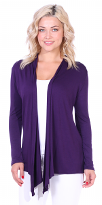 Super-Soft Open Front Drape Cardigan - Made In USA - Eggplant