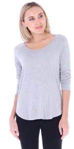 Womens Scoop Neck Tunic Tops Long Sleeve Wear with Leggings - Made In USA - HGray