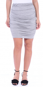 Womens Ruched Bodycon Pencil Skirt High Waist Above Knee - Made in USA - HGray