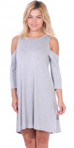 Womens Cold Shoulder Shift Flowy Dress Round Neck 3/4 Sleeve - Made In USA - HGray