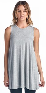 Women's Sleeveless Tank Top Tunic - Loose Fit Flowy Tunic Tank For Leggings - Made In USA - Heather Gray