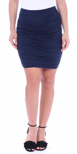 Womens Ruched Bodycon Pencil Skirt High Waist Above Knee - Made in USA - Navy