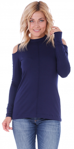 Women's Cold Shoulder Top - Long Sleeve Cut Out Shoulder Style - Made In USA - Navy