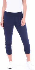 Women's Harem Pants Cropped Jogger Style Ankle Length Sweatpants - Made In USA - Navy