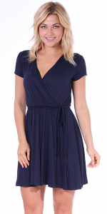 Women's Swing Cap Sleeve Midi Above the Knee Length Summer Dress - Made In USA - Navy