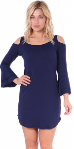 Women's Cold Shoulder Tunic Dress - 3/4 Ruffle Bell Sleeve Style - Made In USA - Navy
