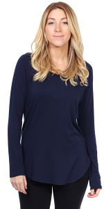 Womens Scoop Neck Tunic Tops Long Sleeve Wear with Leggings - Made In USA - Navy