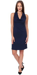 Cowel Neck Dress - Made in USA - Navy