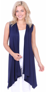 Women's Sleeveless Long Drape Cardigan Plus Size Available - Made In USA - Navy
