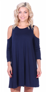 Womens Cold Shoulder Shift Flowy Dress Round Neck 3/4 Sleeve - Made In USA - Navy