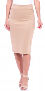 Women's High Waist Knee Length Stretch Pencil Skirt - Ladies Shaping Midi Skirt for Work or Office - Made In USA - Nude
