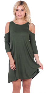 Womens Cold Shoulder Shift Flowy Dress Round Neck 3/4 Sleeve - Made In USA - Olive