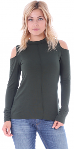 Women's Cold Shoulder Top - Long Sleeve Cut Out Shoulder Style - Made In USA - Olive