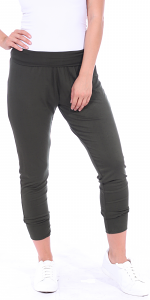 Women's Harem Pants Cropped Jogger Style Ankle Length Sweatpants - Made In USA - Olive