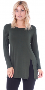 Long Sleeve Tunic Top with Slit - Made in USA - Olive
