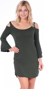 Women's Cold Shoulder Tunic Dress - 3/4 Ruffle Bell Sleeve Style - Made In USA - Olive