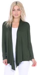 Super-Soft Open Front Drape Cardigan - Made In USA - Olive