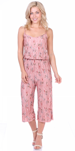 Women's Pleated Floral Print Jumpsuit Romper Pants - Wide Leg Culotte - Made In USA - P1