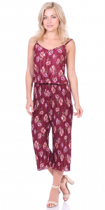 Women's Pleated Floral Print Jumpsuit Romper Pants - Wide Leg Culotte - Made In USA - P3