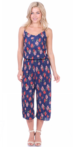 Women's Pleated Floral Print Jumpsuit Romper Pants - Wide Leg Culotte - Made In USA - P4