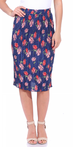 Floral Pleated Midi Skirt - Made in USA - P4
