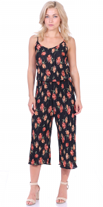 Women's Pleated Floral Print Jumpsuit Romper Pants - Wide Leg Culotte - Made In USA - P5