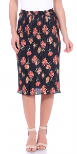 Floral Pleated Midi Skirt - Made in USA - P5