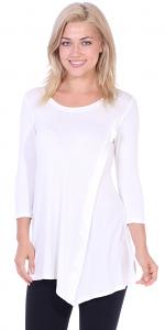 Flattering Asymmetrical Hem 3/4 Sleeve Tunic Top - Made In USA - Pearl
