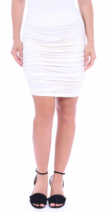 Womens Ruched Bodycon Pencil Skirt High Waist Above Knee - Made in USA - Pearl