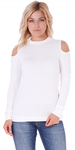 Women's Cold Shoulder Top - Long Sleeve Cut Out Shoulder Style - Made In USA - Pearl