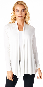 Super-Soft Open Front Drape Cardigan - Made In USA - Pearl