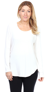 Womens Scoop Neck Tunic Tops Long Sleeve Wear with Leggings - Made In USA - Pearl