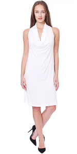 Cowel Neck Dress - Made in USA - Pearl
