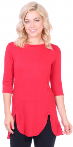 Women's Tunic Tops to Wear with Leggings 3/4 Sleeve - Made In USA - Red