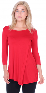 Flattering Asymmetrical Hem 3/4 Sleeve Tunic Top - Made In USA - Red