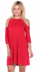 Womens Cold Shoulder Shift Flowy Dress Round Neck 3/4 Sleeve - Made In USA - Red
